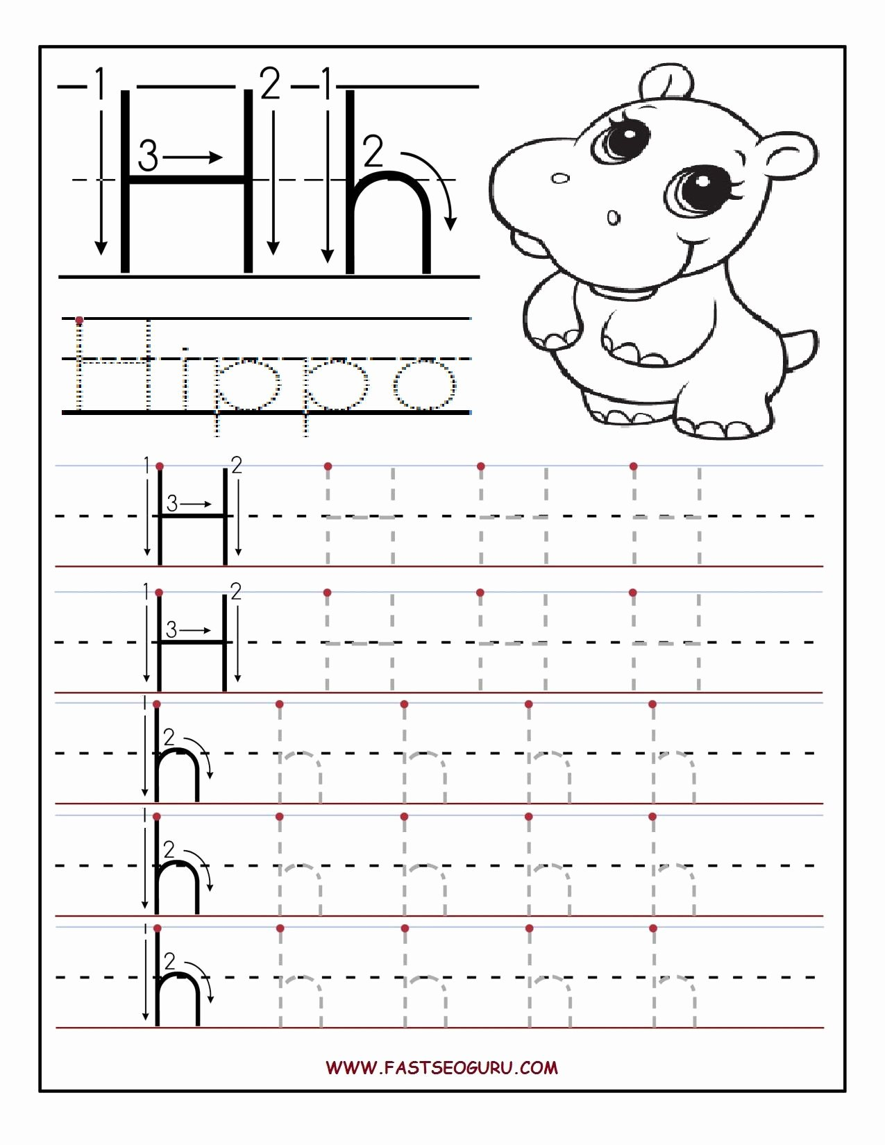 Tracing the Letter H Worksheets for Preschoolers Lovely Printable Letter H Tracing Worksheets for Preschool