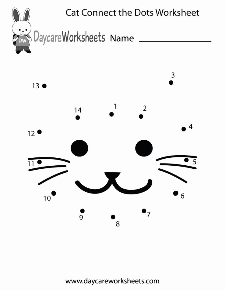 Worksheets for Preschoolers Connect the Dots New Free Preschool Cat Connect the Dots Worksheet
