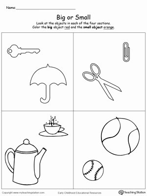Worksheets for Preschoolers On Big and Small Free Paring Objects Sizes Big and Small
