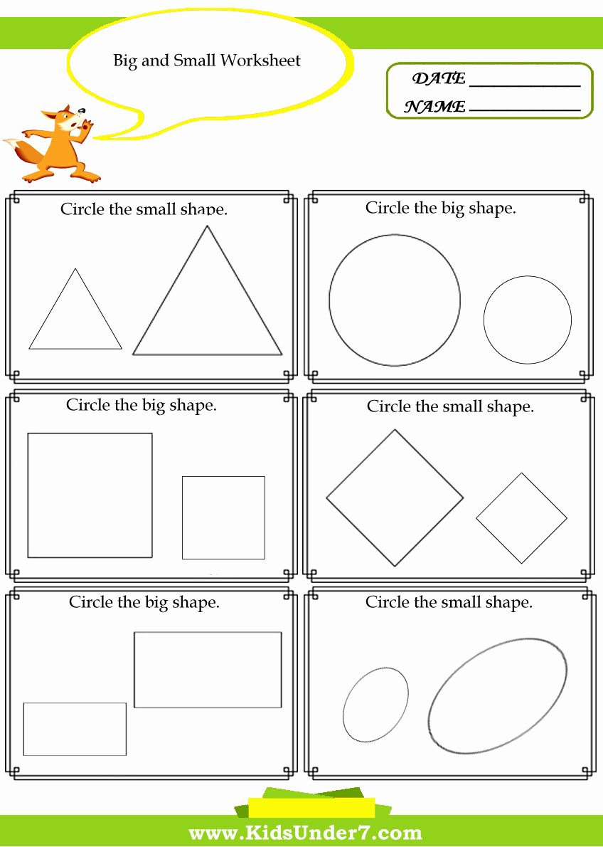 Worksheets for Preschoolers On Big and Small Kids Kids Under 7 Big and Small Worksheet