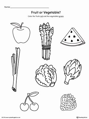 Worksheets for Preschoolers On Fruits and Vegetables Kids Coloring Pages Color the Fruits and Ve Ables Worksheet