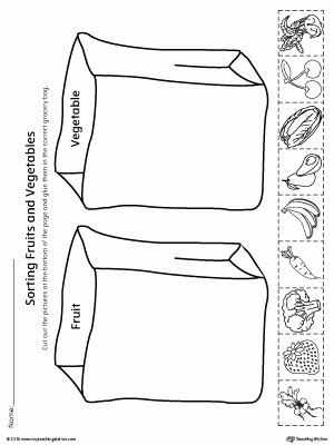 Worksheets for Preschoolers On Fruits and Vegetables New sorting Fruits and Ve Ables In Grocery Bags