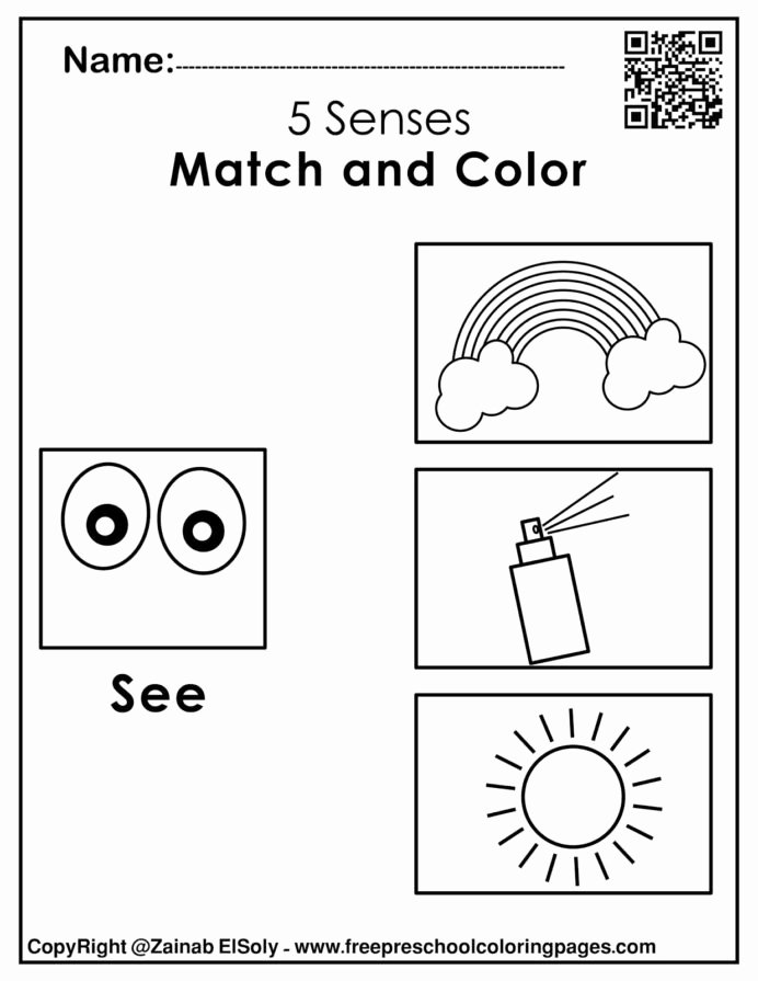 Worksheets for Preschoolers On the Five Senses Lovely Five Senses Coloring Pages for toddlers Coloring Pages Math