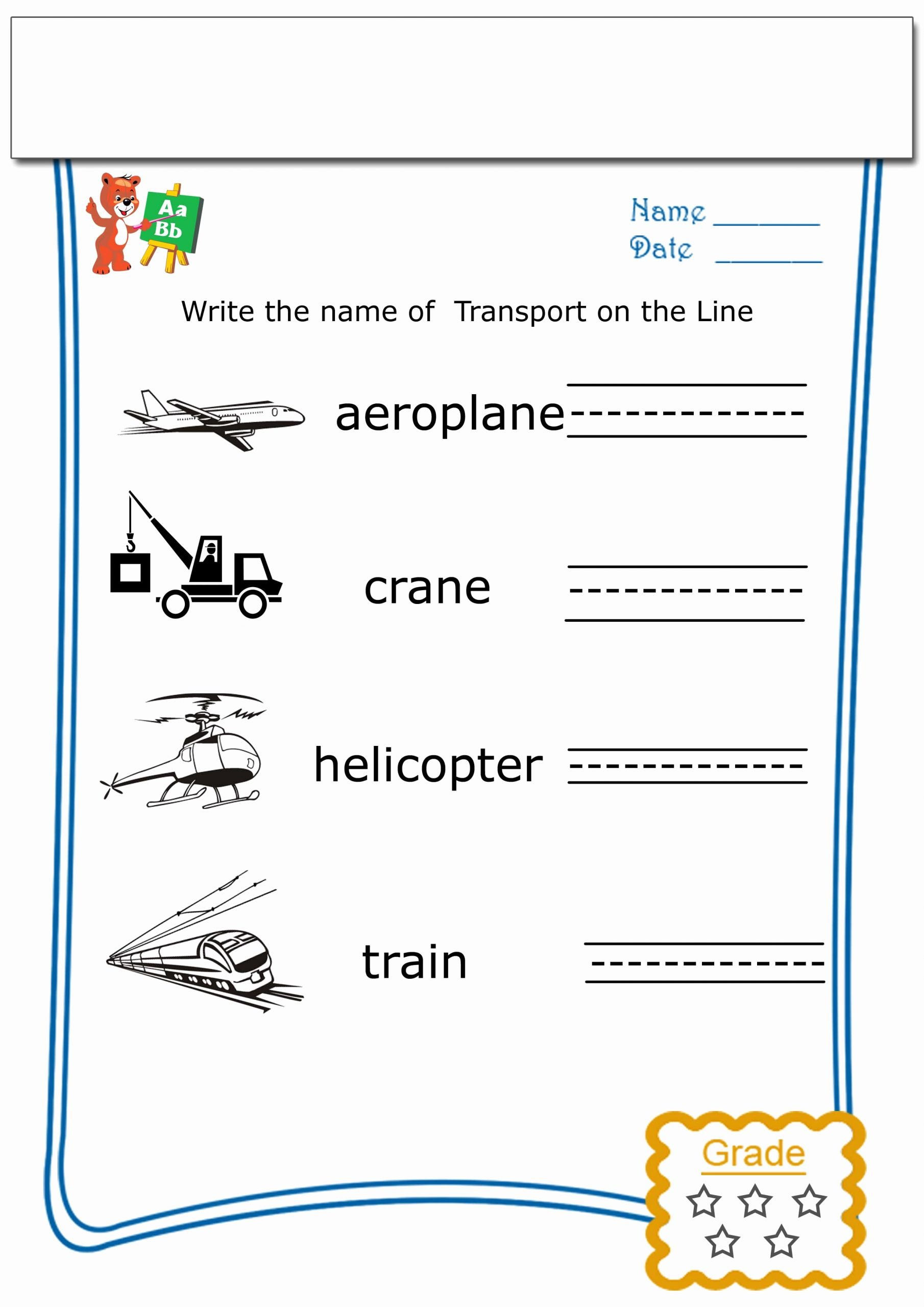Worksheets for Preschoolers to Write their Name Inspirational Write the Name Each Transport Archives Teaching My Kid